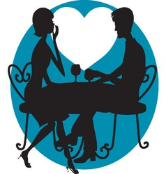 romantic couple silhouette vector image