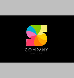 S rainbow colors logo icon alphabet design vector