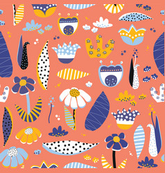 scandinavian flower collage pattern vector image