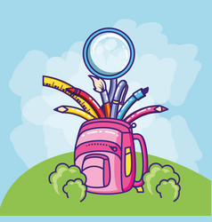 Schoolbag with magnifying glass and supplies vector