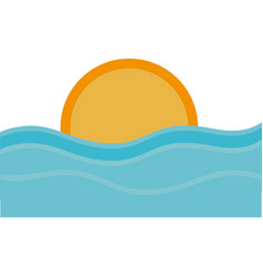 Sea and sun icon vector