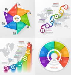 set 4 infographic templates with 6 options vector image