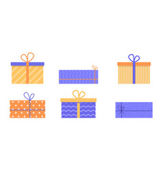 Set gift boxes with ribbons and bows vector