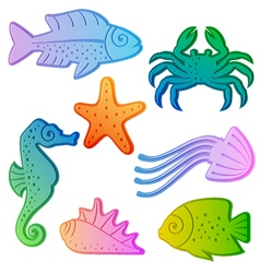 Set of colorful sea animals vector