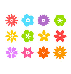 set of flat icon flower icons in silhouette vector image