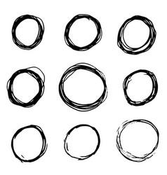 set of hand drawn scribble circles grunge circle vector image