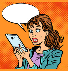 Shocked woman reading a smartphone vector