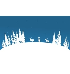 Silhouette of deer and spruce Christmas scenery vector