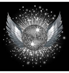 silver disco ball and stars vector image vector image