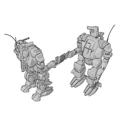 simple two grey robots shaking hands vector image