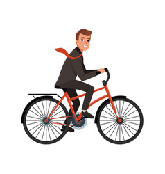 smiling business man riding bicycle to work eco vector image