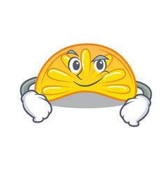 Smirking orange jelly candy character cartoon vector