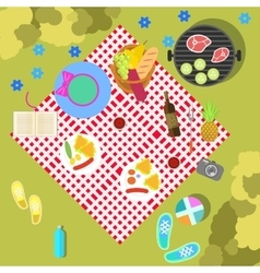 Summer picnic on nature landscape with blanket and vector image