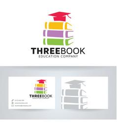 Three book logo design vector