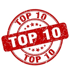 Top 10 red grunge round vintage rubber stamp vector