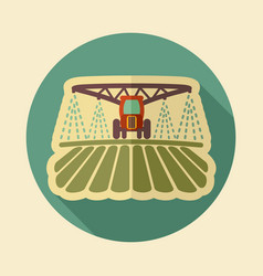 tractor watering soil and fertilizing field icon vector image