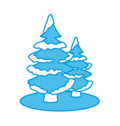 trees pines with snow vector image