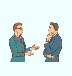 two businessmen brainstorming collaboration vector image