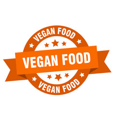 vegan food ribbon vegan food round orange sign vector image