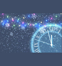 vintage gold shining round clock christmas snow vector image