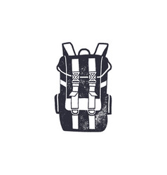 Vintage hand drawn backpack shape in monochrome vector