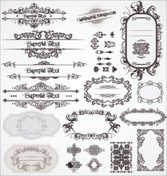Vintage ornamental calligraphic designs set vector