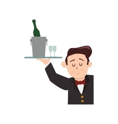 Waiter bottle male avatar suit person icon vector image