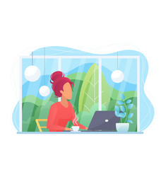 woman with laptop in cafe flat vector image
