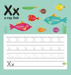 X x-ray fish alphabet english vocabulary vector