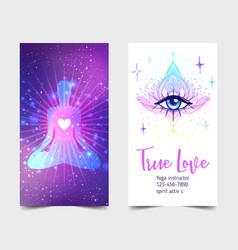 Yoga card design colorful template for spiritual vector