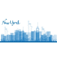 Abstract Outline New York city skyline vector image vector image