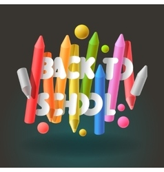 Back to school background with colorful crayons vector image vector image