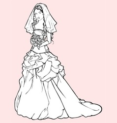 bride in a wedding gown vector image vector image