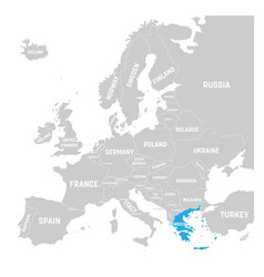 greece marked by blue in grey political map of vector image vector image