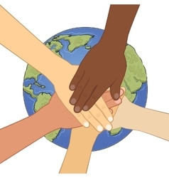 human hands together over earth vector image vector image