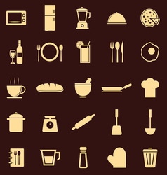 Kitchen color icons on dark background vector image