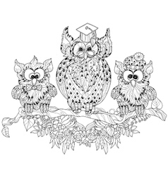 Old Owl on tree branch with small owls vector image
