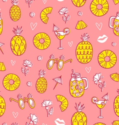 Pineapple mood pattern on pink background vector image vector image