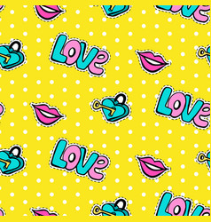 seamless pattern with fashionable patch set vector image
