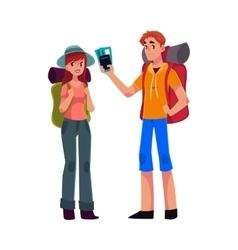 Young backpackers with backpacks sleeping bags vector image