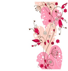 Elegant floral postcard with hearts and flowers vector image vector image