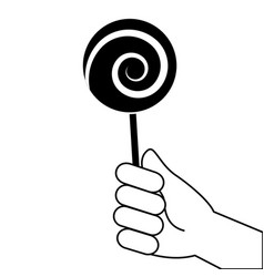 hand holding lollipop sweet candy vector image