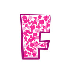 english pink letter f on a white background vector image