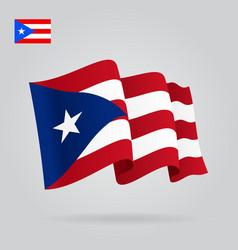 Puerto rican waving flag vector