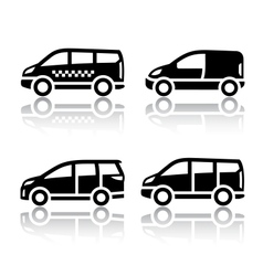 Set of transport icons - cargo van vector