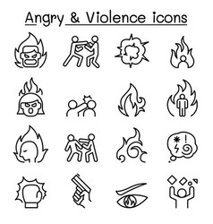 angry violence icon set in thin lines style vector image vector image
