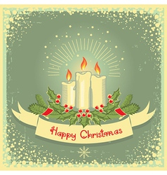 Christmas card with candles vector image vector image