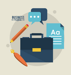 colorful poster business portfolio with briefcase vector image