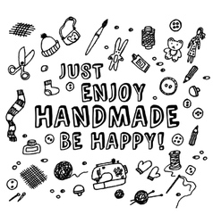 Happy handmade black and white card vector image
