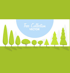 set of abstract cartoon stylized trees natural vector image vector image
